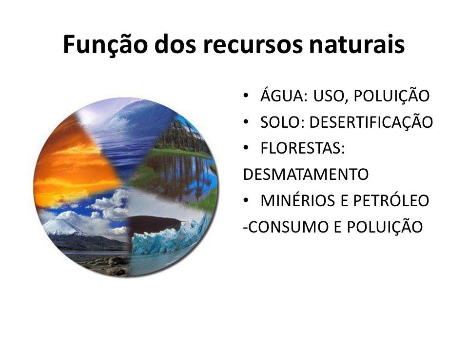 Função dos recursos naturais
