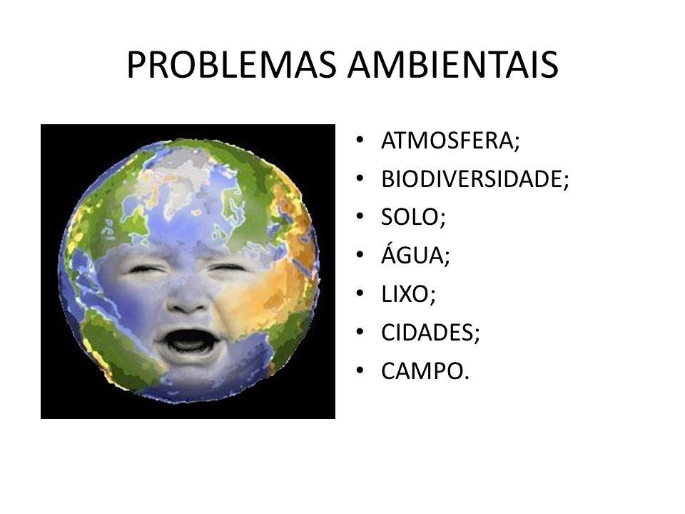PROBLEMAS AMBIENTAIS ATMOSFERA; BIODIVERSIDADE; SOLO; ÁGUA; LIXO;