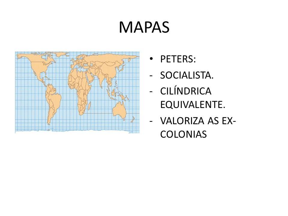 MAPAS PETERS: SOCIALISTA. CILÍNDRICA EQUIVALENTE.