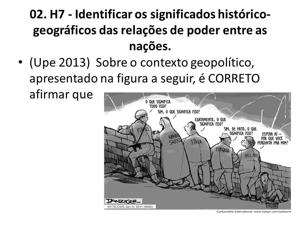 02. H7 - Identificar os significados histórico-geográficos das relações de poder entre as nações.