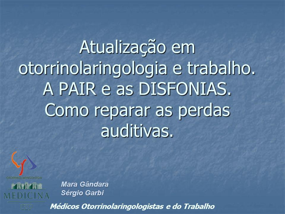 Atualização em otorrinolaringologia e trabalho. A PAIR e as DISFONIAS