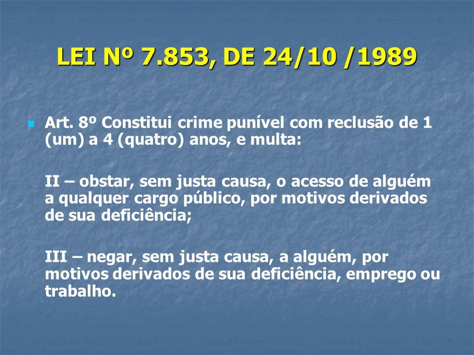LEI Nº 7.853, DE 24/10 /1989 Art. 8º Constitui crime punível com reclusão de 1 (um) a 4 (quatro) anos, e multa: