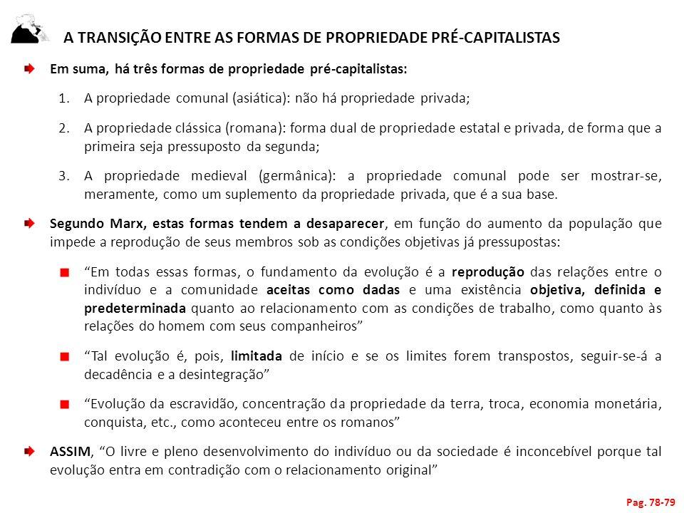 A transição entre as Formas de propriedade pré-capitalistas
