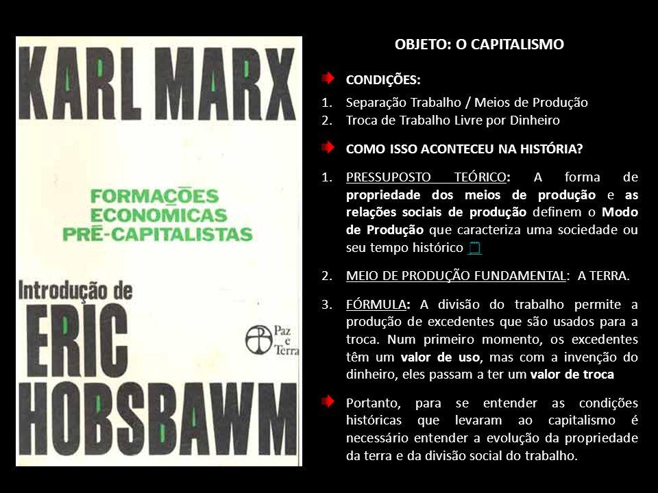 Objeto: o capitalismo CONDIÇÕES: