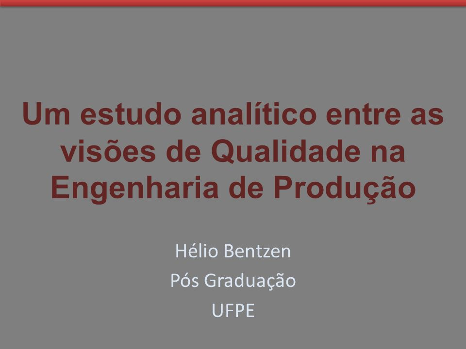 Hélio Bentzen Pós Graduação UFPE