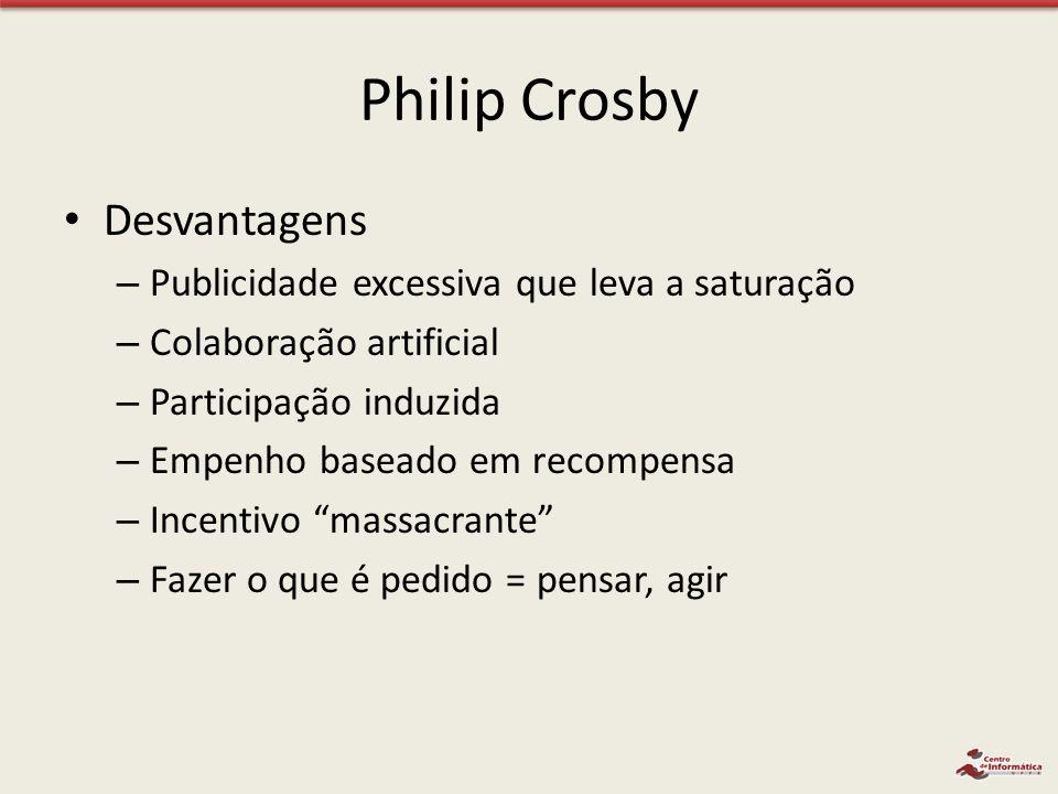 Philip Crosby Desvantagens Publicidade excessiva que leva a saturação