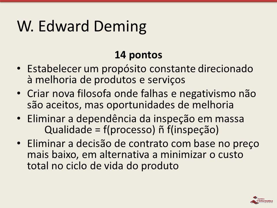 W. Edward Deming 14 pontos. Estabelecer um propósito constante direcionado à melhoria de produtos e serviços.