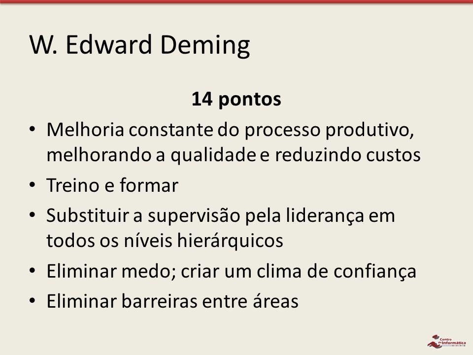 W. Edward Deming 14 pontos. Melhoria constante do processo produtivo, melhorando a qualidade e reduzindo custos.