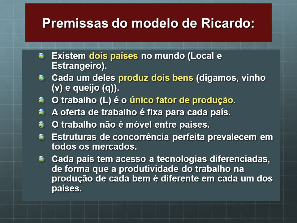 Premissas do modelo de Ricardo: