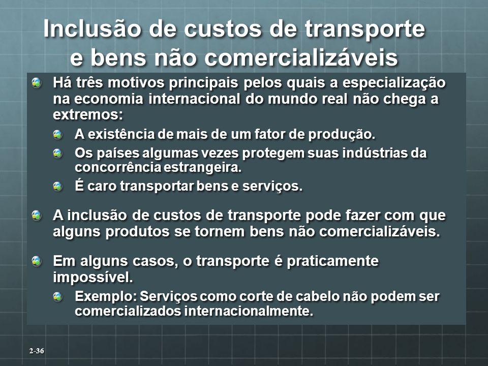 Inclusão de custos de transporte e bens não comercializáveis