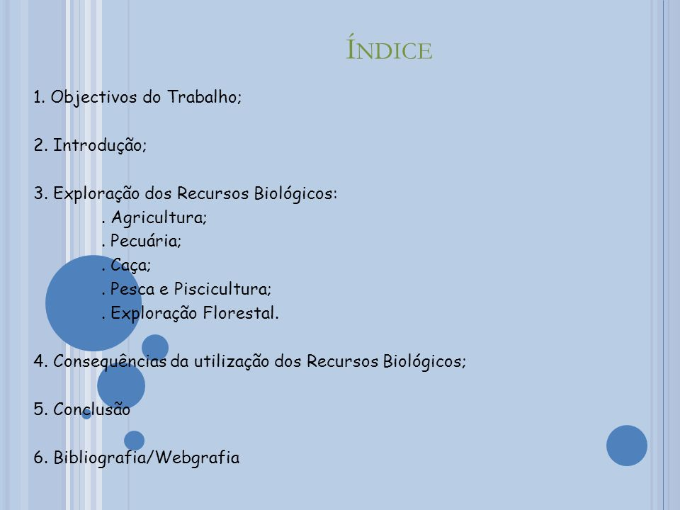Índice 1. Objectivos do Trabalho; 2. Introdução;