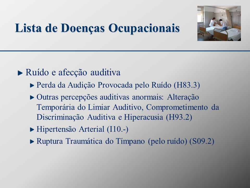 Lista de Doenças Ocupacionais