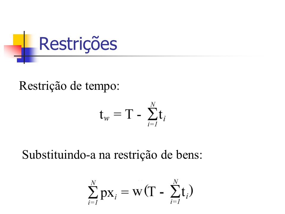 Restrições Restrição de tempo: Substituindo-a na restrição de bens: