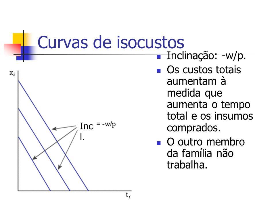 Curvas de isocustos Inclinação: -w/p.