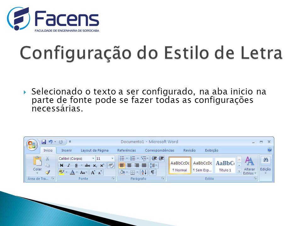 Configuração do Estilo de Letra