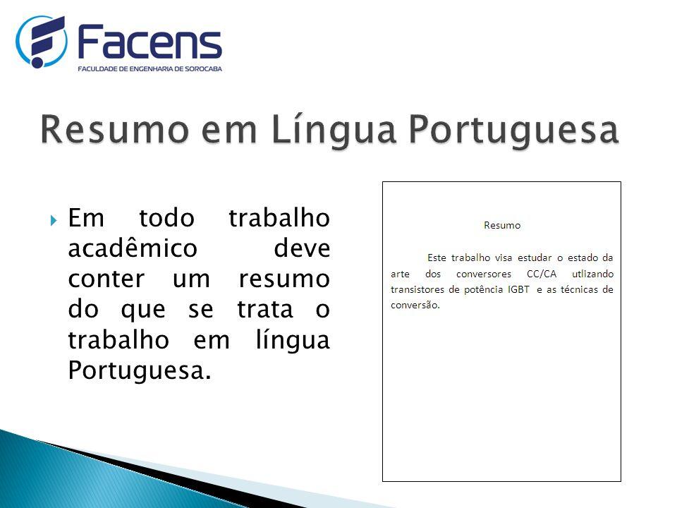 Resumo em Língua Portuguesa