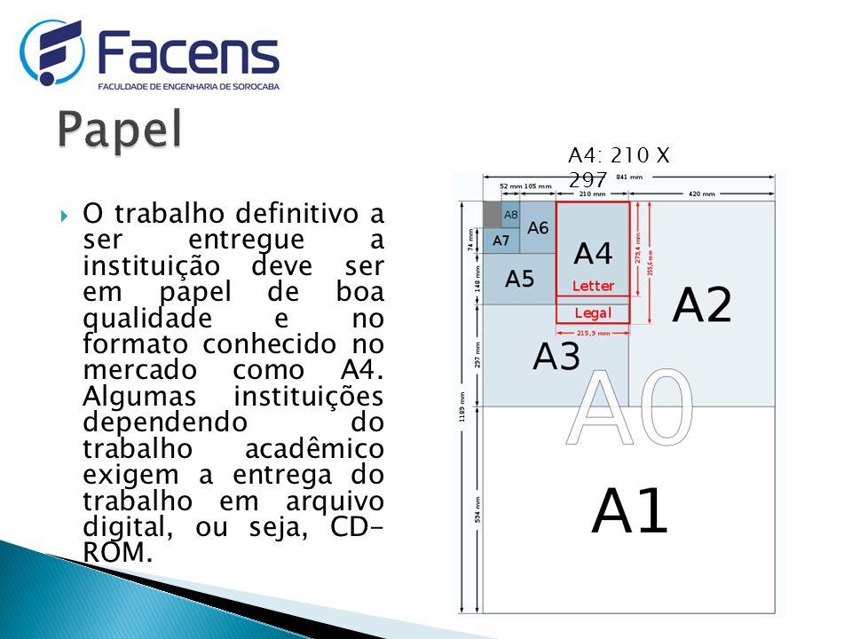 Papel A4: 210 X 297.