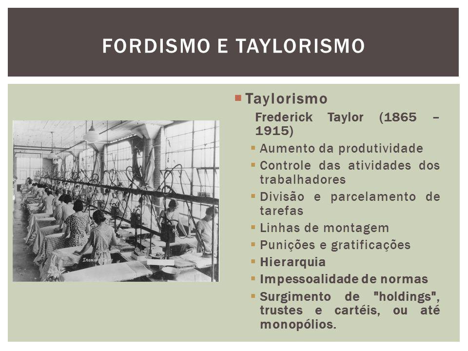 Fordismo e Taylorismo Taylorismo Frederick Taylor (1865 – 1915)