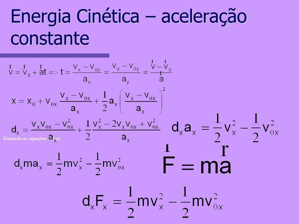 Energia Cinética – aceleração constante