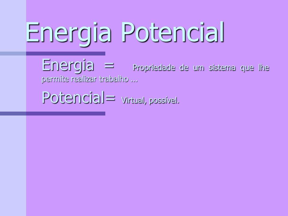 Energia Potencial Energia = Propriedade de um sistema que lhe permite realizar trabalho ...