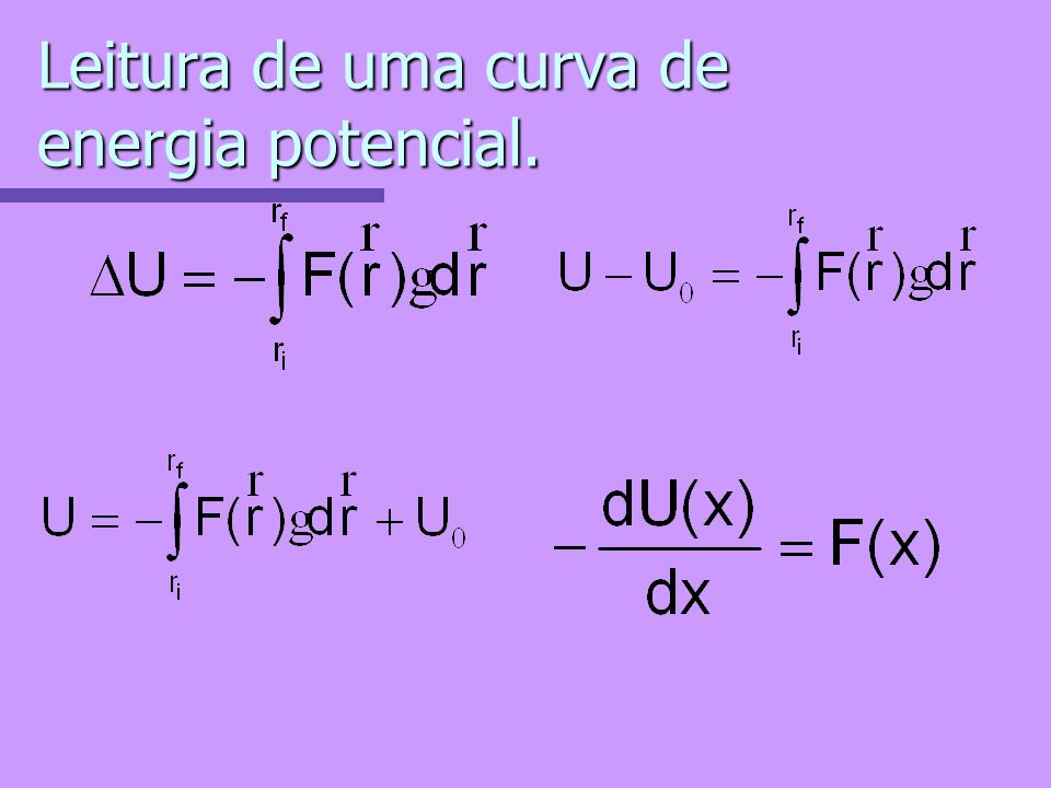 Leitura de uma curva de energia potencial.