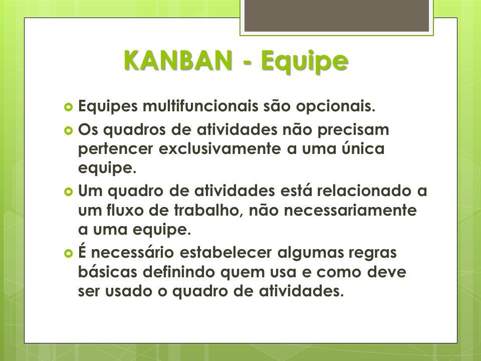 KANBAN - Equipe Equipes multifuncionais são opcionais.