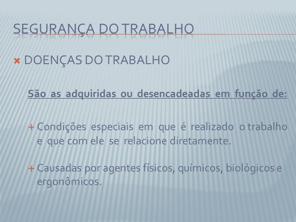 SEGURANÇA DO TRABALHO DOENÇAS DO TRABALHO