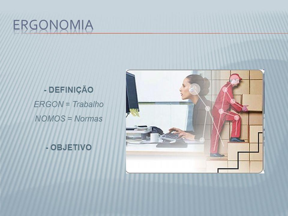 Ergonomia - DEFINIÇÃO ERGON = Trabalho NOMOS = Normas - OBJETIVO