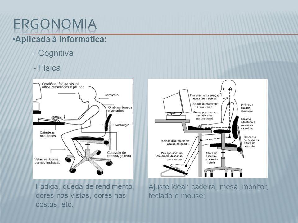 Ergonomia Aplicada à informática: Cognitiva Física