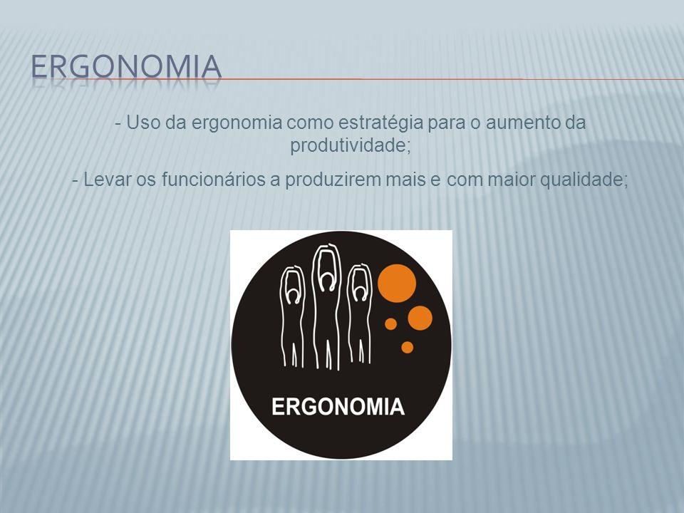 Ergonomia Uso da ergonomia como estratégia para o aumento da produtividade; Levar os funcionários a produzirem mais e com maior qualidade;