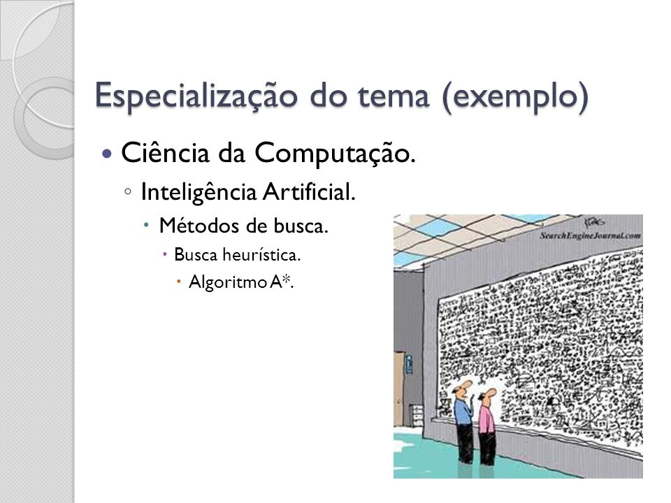 Especialização do tema (exemplo)