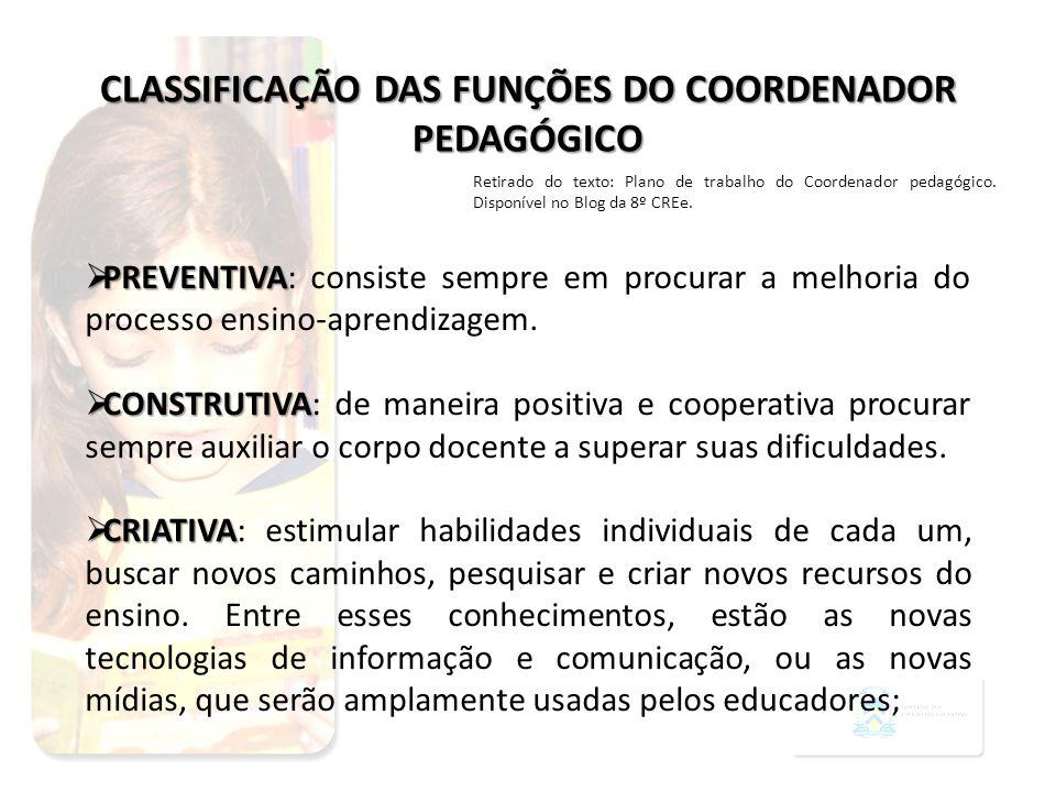 CLASSIFICAÇÃO DAS FUNÇÕES DO COORDENADOR PEDAGÓGICO