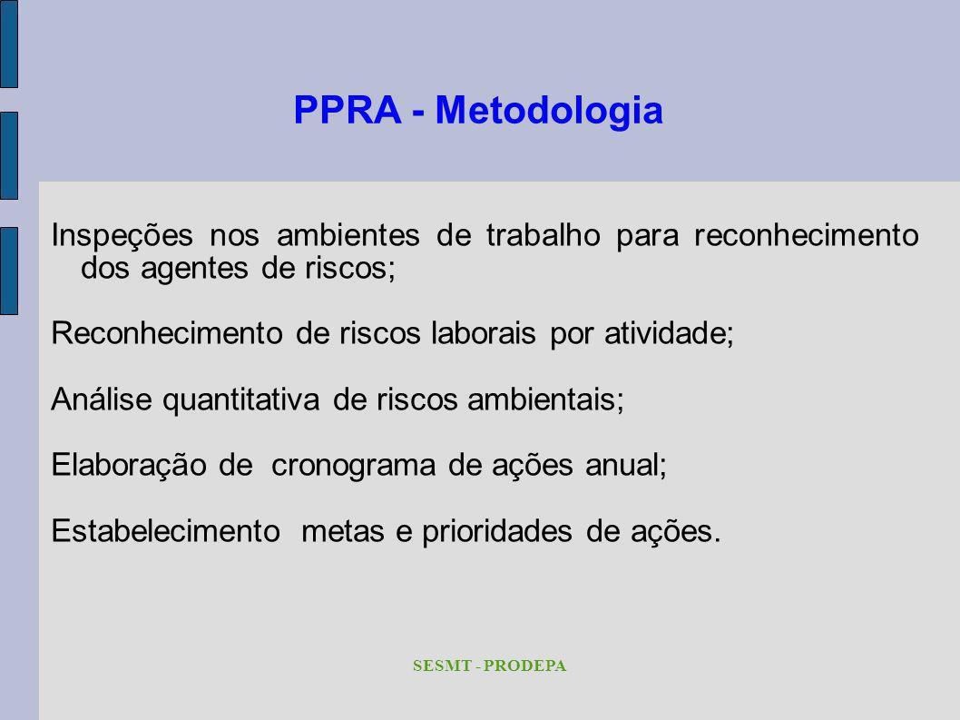 PPRA - Metodologia Inspeções nos ambientes de trabalho para reconhecimento dos agentes de riscos; Reconhecimento de riscos laborais por atividade;