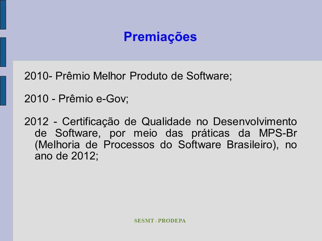 Premiações 2010- Prêmio Melhor Produto de Software;