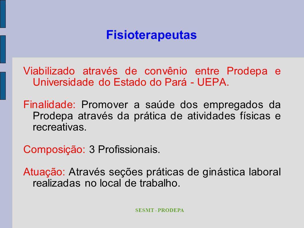 Fisioterapeutas Viabilizado através de convênio entre Prodepa e Universidade do Estado do Pará - UEPA.