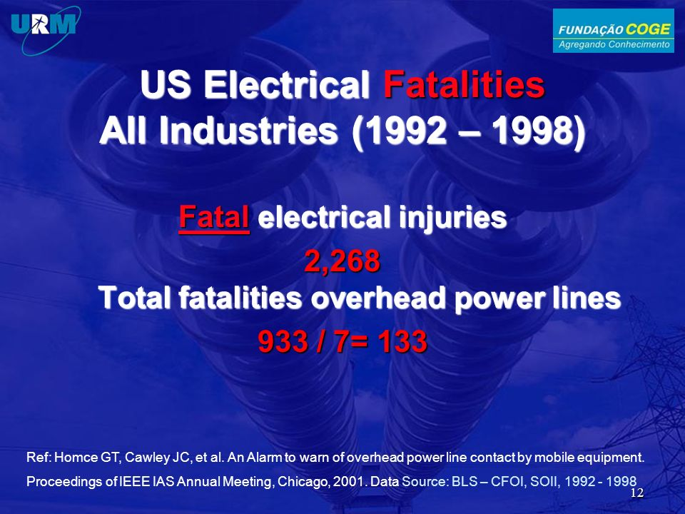 US Electrical Fatalities All Industries (1992 – 1998)
