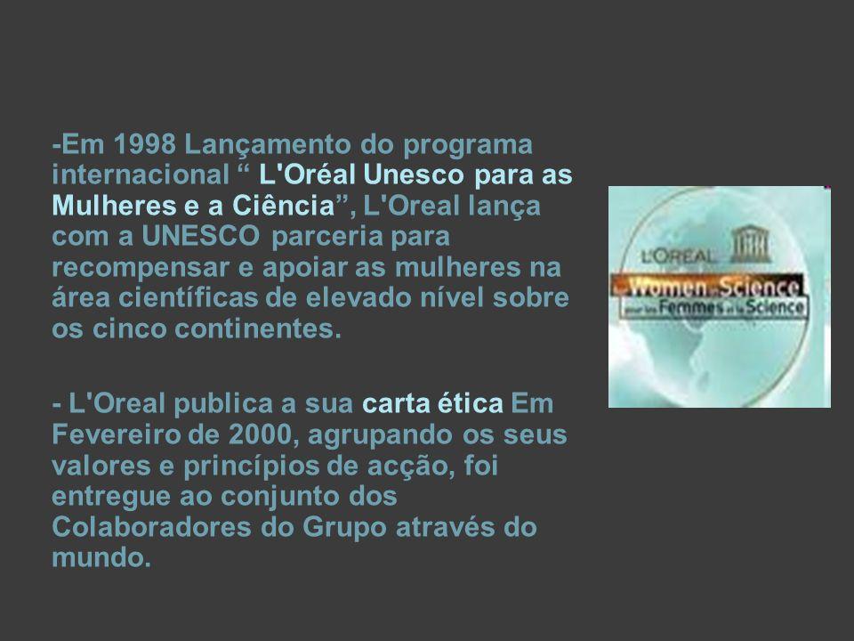 -Em 1998 Lançamento do programa internacional L Oréal Unesco para as Mulheres e a Ciência , L Oreal lança com a UNESCO parceria para recompensar e apoiar as mulheres na área científicas de elevado nível sobre os cinco continentes.