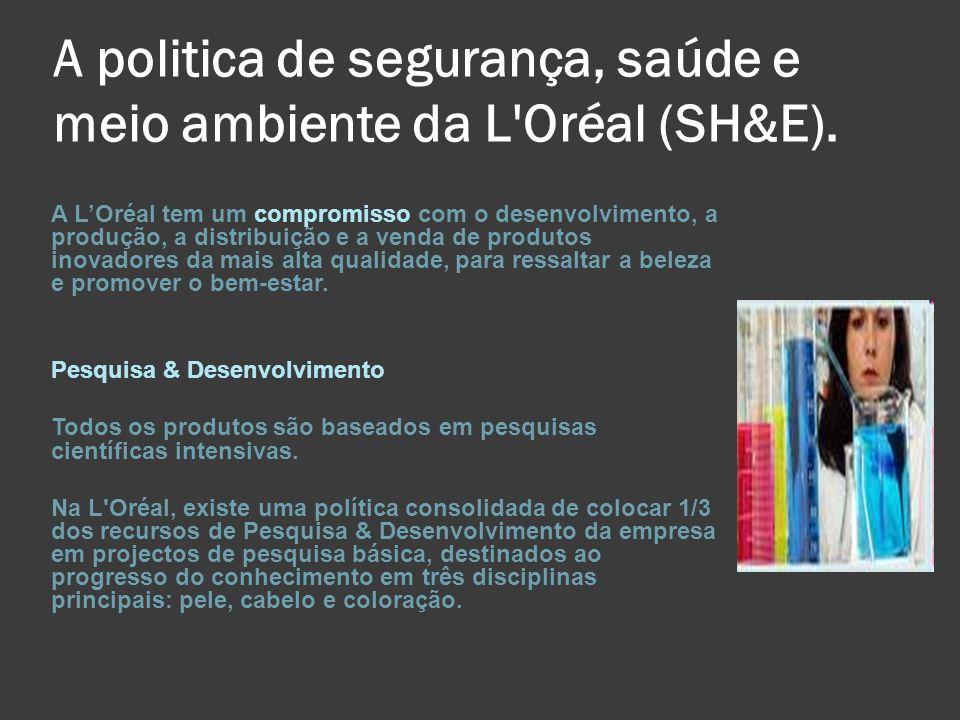 A politica de segurança, saúde e meio ambiente da L Oréal (SH&E).