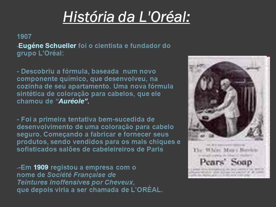História da L Oréal: 1907. Eugéne Schueller foi o cientista e fundador do grupo L Oréal: