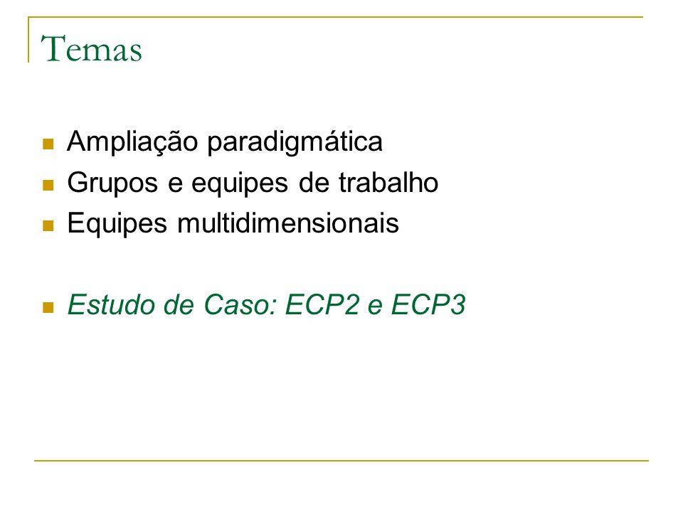 Temas Ampliação paradigmática Grupos e equipes de trabalho