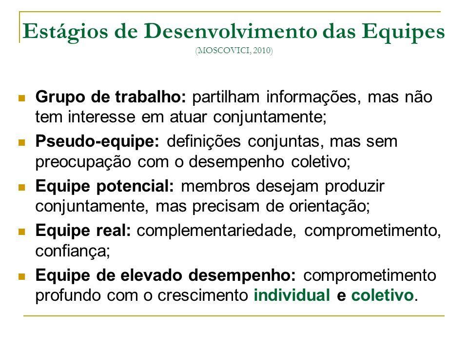 Estágios de Desenvolvimento das Equipes (MOSCOVICI, 2010)