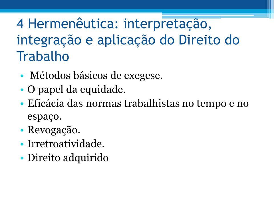 4 Hermenêutica: interpretação, integração e aplicação do Direito do Trabalho