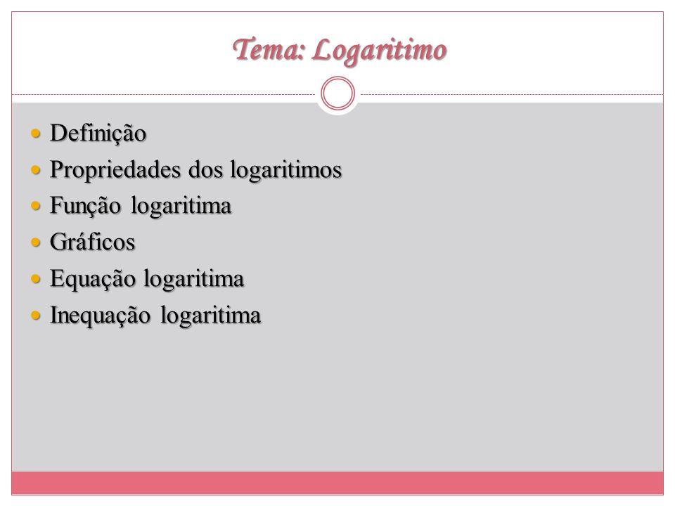 Tema: Logaritimo Definição Propriedades dos logaritimos
