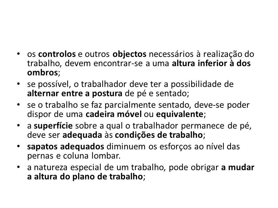 os controlos e outros objectos necessários à realização do trabalho, devem encontrar-se a uma altura inferior à dos ombros;