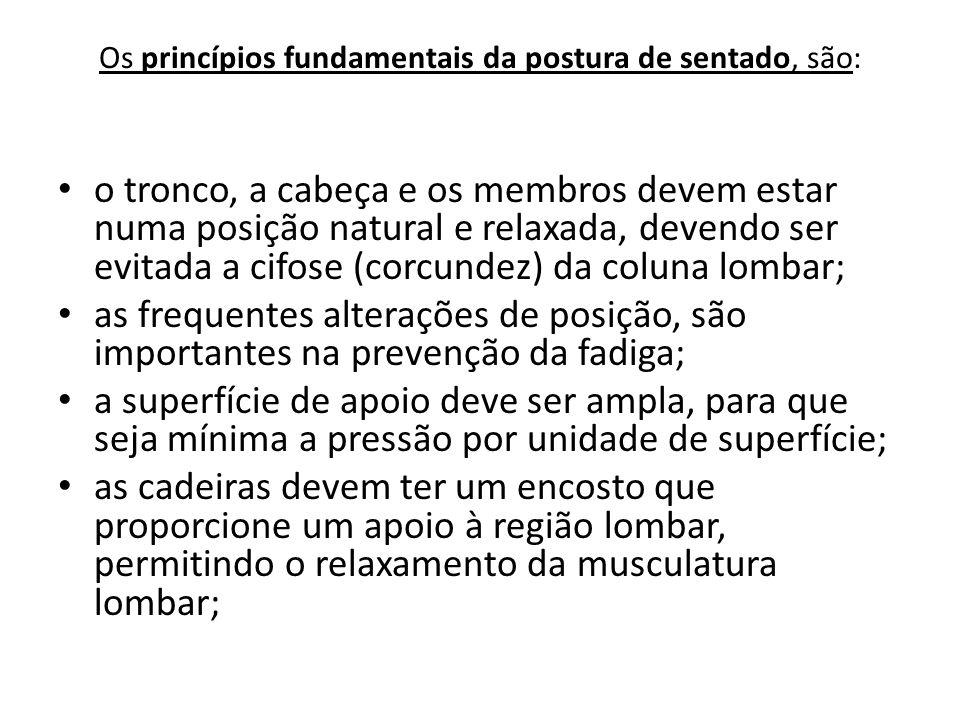 Os princípios fundamentais da postura de sentado, são: