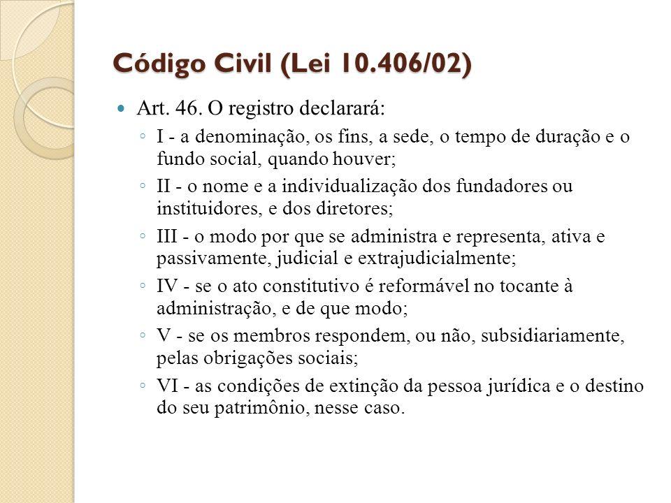 Código Civil (Lei 10.406/02) Art. 46. O registro declarará: