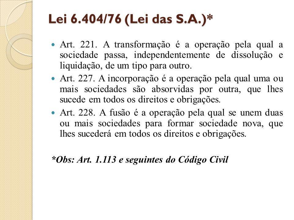 Lei 6.404/76 (Lei das S.A.)*