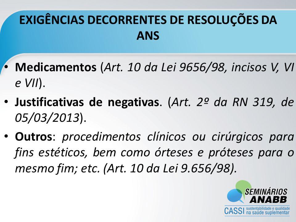 EXIGÊNCIAS DECORRENTES DE RESOLUÇÕES DA ANS