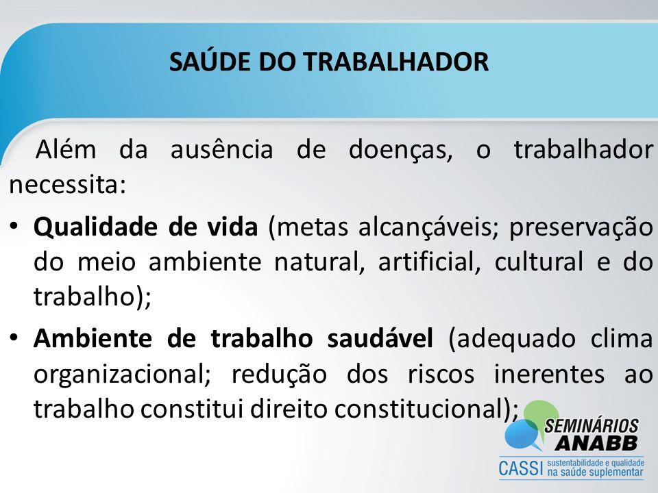 SAÚDE DO TRABALHADOR Além da ausência de doenças, o trabalhador necessita:
