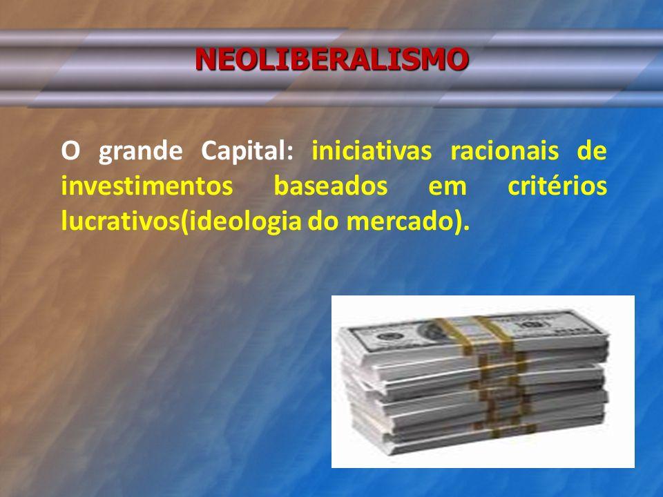 NEOLIBERALISMO O grande Capital: iniciativas racionais de investimentos baseados em critérios lucrativos(ideologia do mercado).